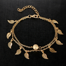 Charms Trendy Double Chain Sea Beach Anklet Gold Sliver Plated Leaves Ankle Bracelet Bohemian Jewelry Accessories Gift For Women цена в Москве и Питере