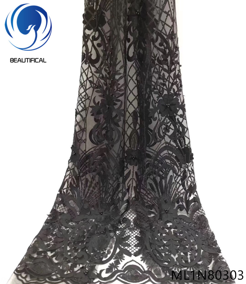 Beautifical black net lace fabric french nigerian laces fabrics high quality with glitter sequins and beads sales online ML1N803Beautifical black net lace fabric french nigerian laces fabrics high quality with glitter sequins and beads sales online ML1N803
