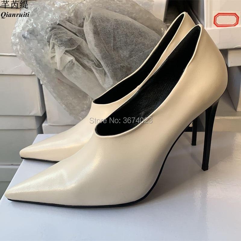 Pompes Pointu V Photos Blanc Talons Mince Stilettos De Parti Hauts 12 100 Bout Usine Qianruiti Femmes Cm Mode cut Réel xvwC0tqO