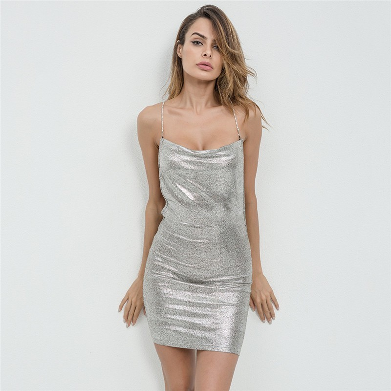 sexy kendall jenner's birthday dress silver backless link
