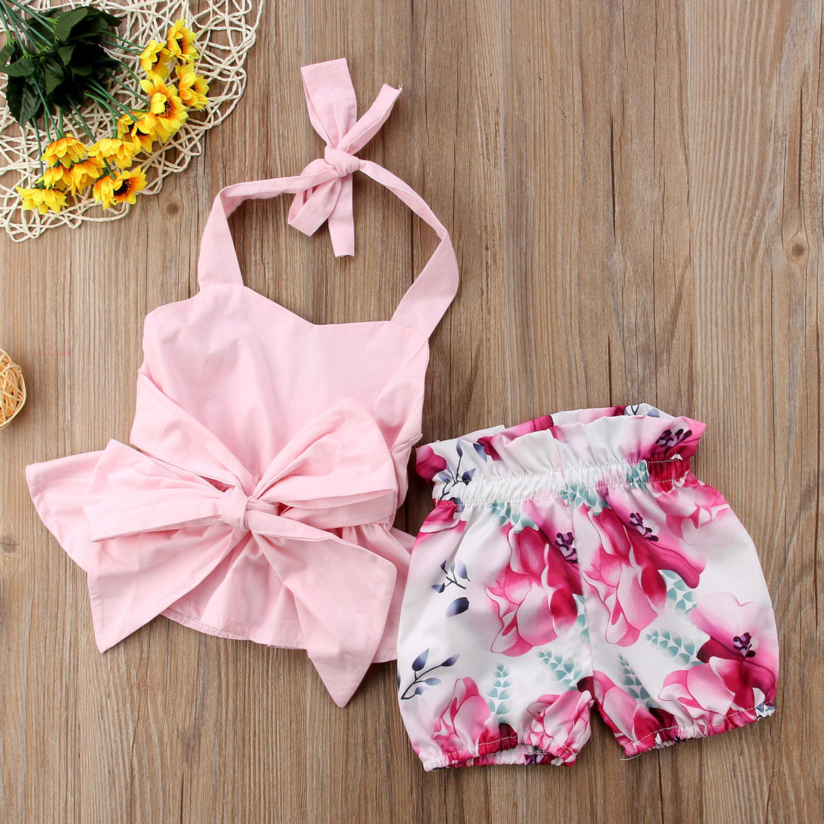 Pudcoco Girl Set 0-24M Newborn Baby Girls Bow-knot Backless Tops Romper+Floral Shorts Clothes UK Stock