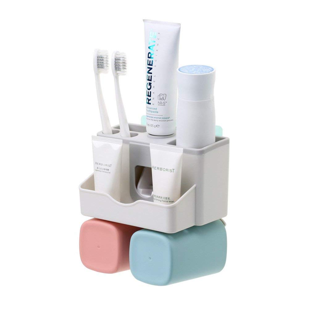 Toothbrush Holder Set, Save Space No Drill Wall Mount Toothpaste Dispenser And Multi-Functional Slots Bathroom Organizer With