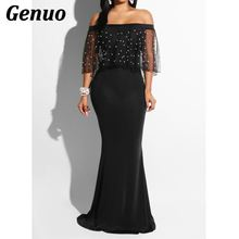 Genuo Pearls Mesh Ruffle Maxi Dress Elegant Sexy Off the Shoulder Slash Neck Bodycon Long Evening Gown Women Party Dresses