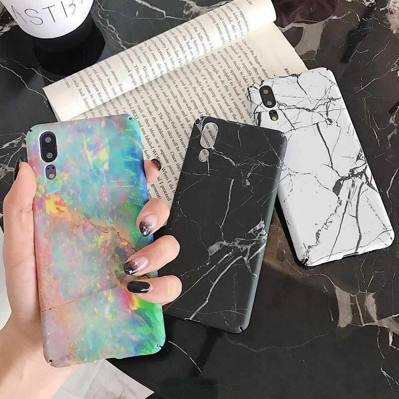 Phone Back Cover For Huawei P20 Mate 20 Pro Lite Nova 4 P Smart 2019 Honor 10 Marble Pattern Hard Plastic PC Full Case Coque