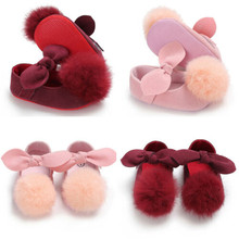 PUDCOCO 0-18M Newborn Baby Girl  Bowknot Cute Shoes Red Pink Rubber Soft