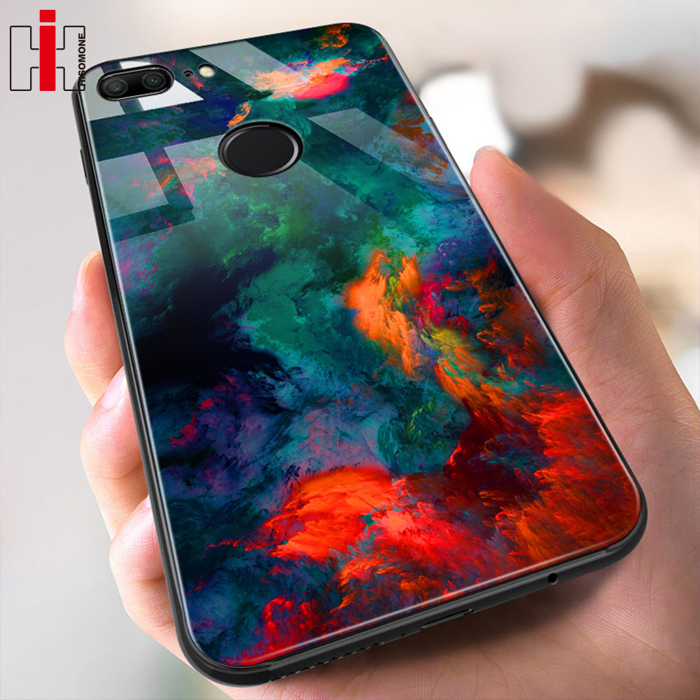 Hisomone Marble Phone Case On For Huawei Honor 9 Lite Texture Tempered Glass