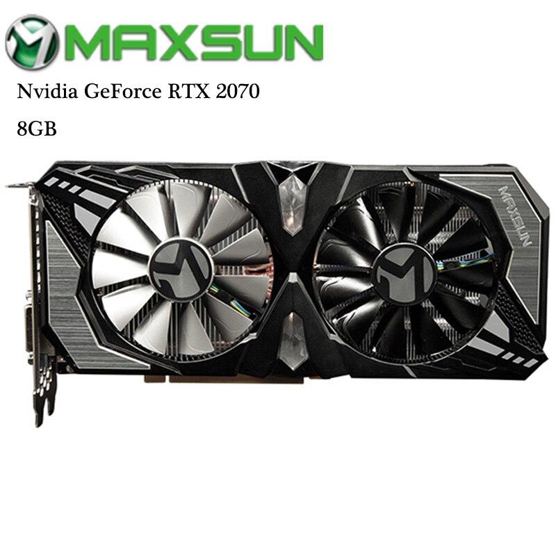 Original MAXSUN Nvidia GeForce RTX 2070 8 GB cartes graphiques vidéo GDDR6 256bit DirectX 12 pour les jeux RGB carte graphique HDMI DVI DP