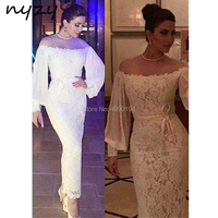 NYZY C33 Cocktail Dresses Robe Soiree Dubai Arabic Formal Dress Lace Off Shoulder Long Sleeves Ankle Length White Party Gown