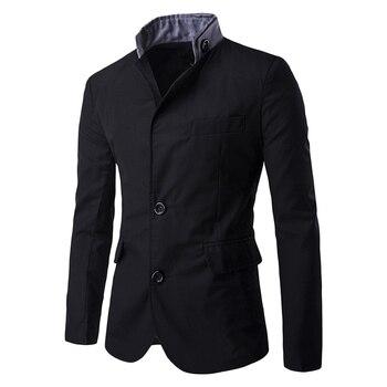 3fed3394f Rosa GAL Blazer botón bolsillo hombres traje primavera estilo chino  negocios Casual Stand Collar ...