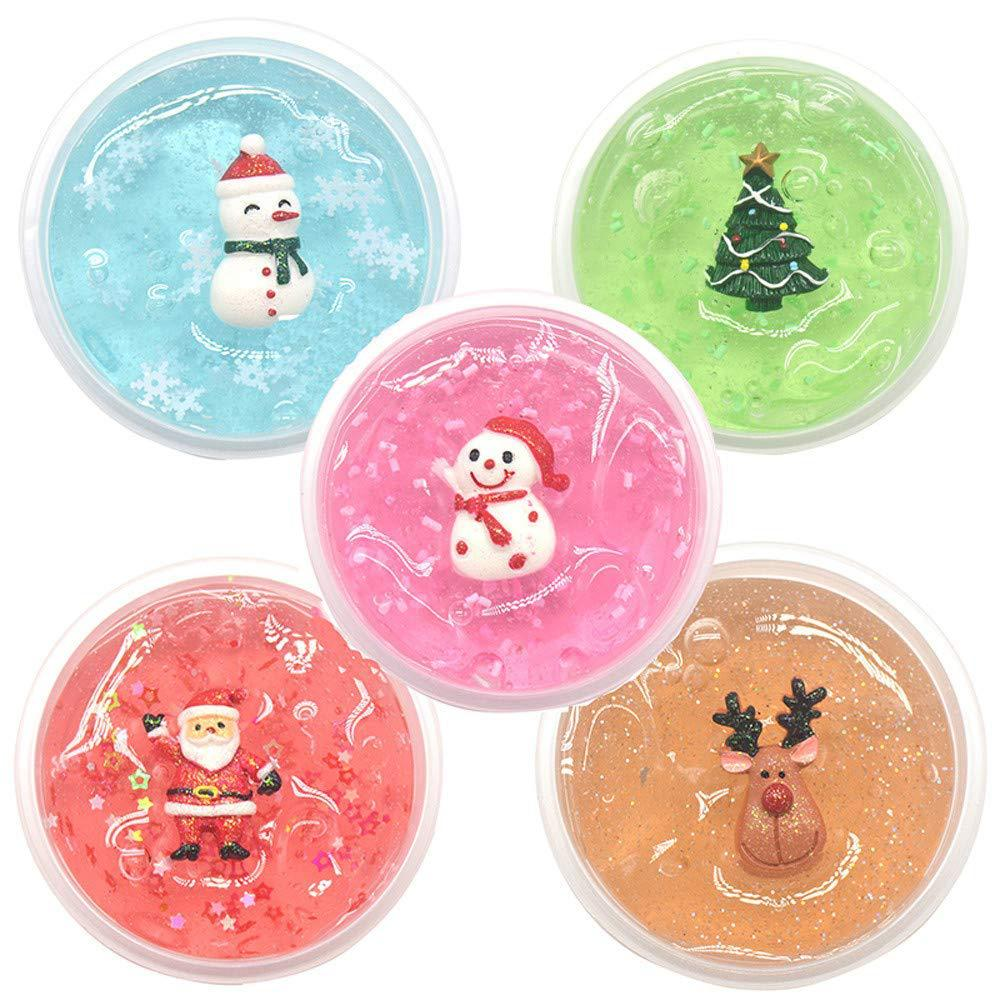 DIY Clear Christmas Crystal Mud Kiibru Slime Fluffy Color Cloud Glue Gradient Magic Sand Antistress Putty Foam Soft Clay Toy 60g