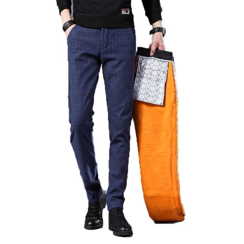 833e6f468e Pantalones de invierno de los hombres de lana de terciopelo cálido vestido  Casual Pantalones Hombre ajustados
