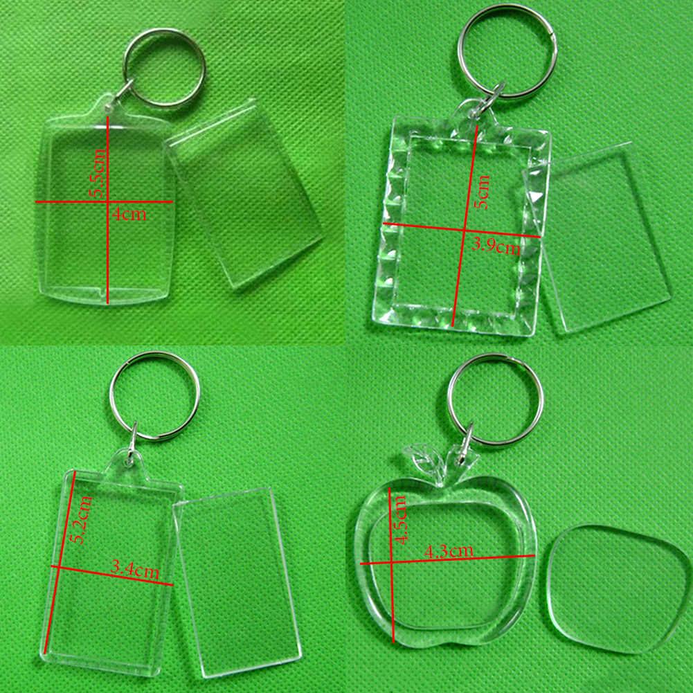 Personalizado acrílico transparente inserção foto quadro de publicidade chaveiros diy quadrado em branco círculo forma de maçã chaveiros