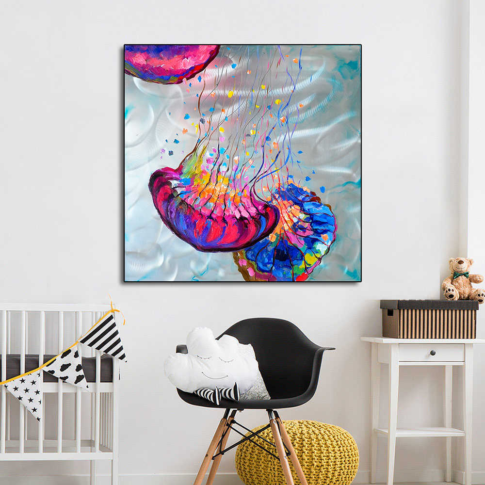AAVV Poster and Paint Modern Abstract Colorful Jellyfish On Canvas Wall Picture Art For Living Room Home Decor No Frame