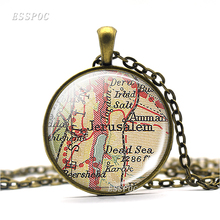 Jerusalem Map Vintage Necklace Holy City For Jews Christians And Muslims Accessories Glass Dome Fridge Magnet Gift Souvenir