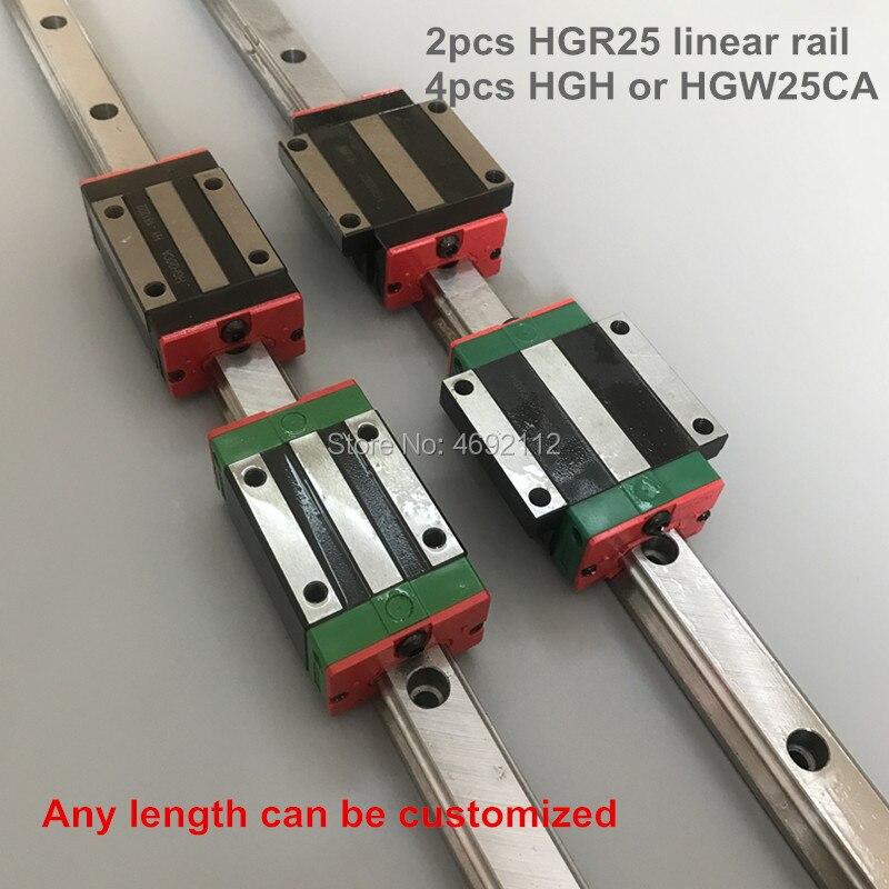 Livraison gratuite 25 MM 2 pièces linéaire rail HGR25 et 4 pièces HGH25CA ou HGW25CC linéaire rails de guidage bloc HGW25CC hgh25