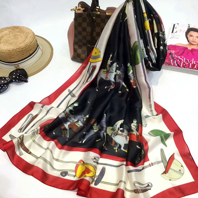 L-azyseason 2019 Fashion Gorgeous Silk Scarf Luxury Woman Brand Scarves for Women Shawl High Quality Print hijab wraps 180*90 CM