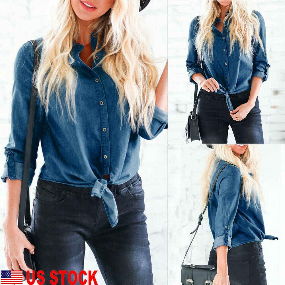 מותג אופנה ארוך שרוולים מזדמן ג 'ינס חולצה נשים 2019 כפתור כותנה גבירותיי חולצה בתוספת גודל כחול ג' ינס חולצה