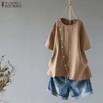 9de1f1fcb ZANZEA Vintage de algodón Tops 2019 verano mujeres Blusas Casual de manga  corta de botones camisas Patchwork suelto Blusas túnica Top 7