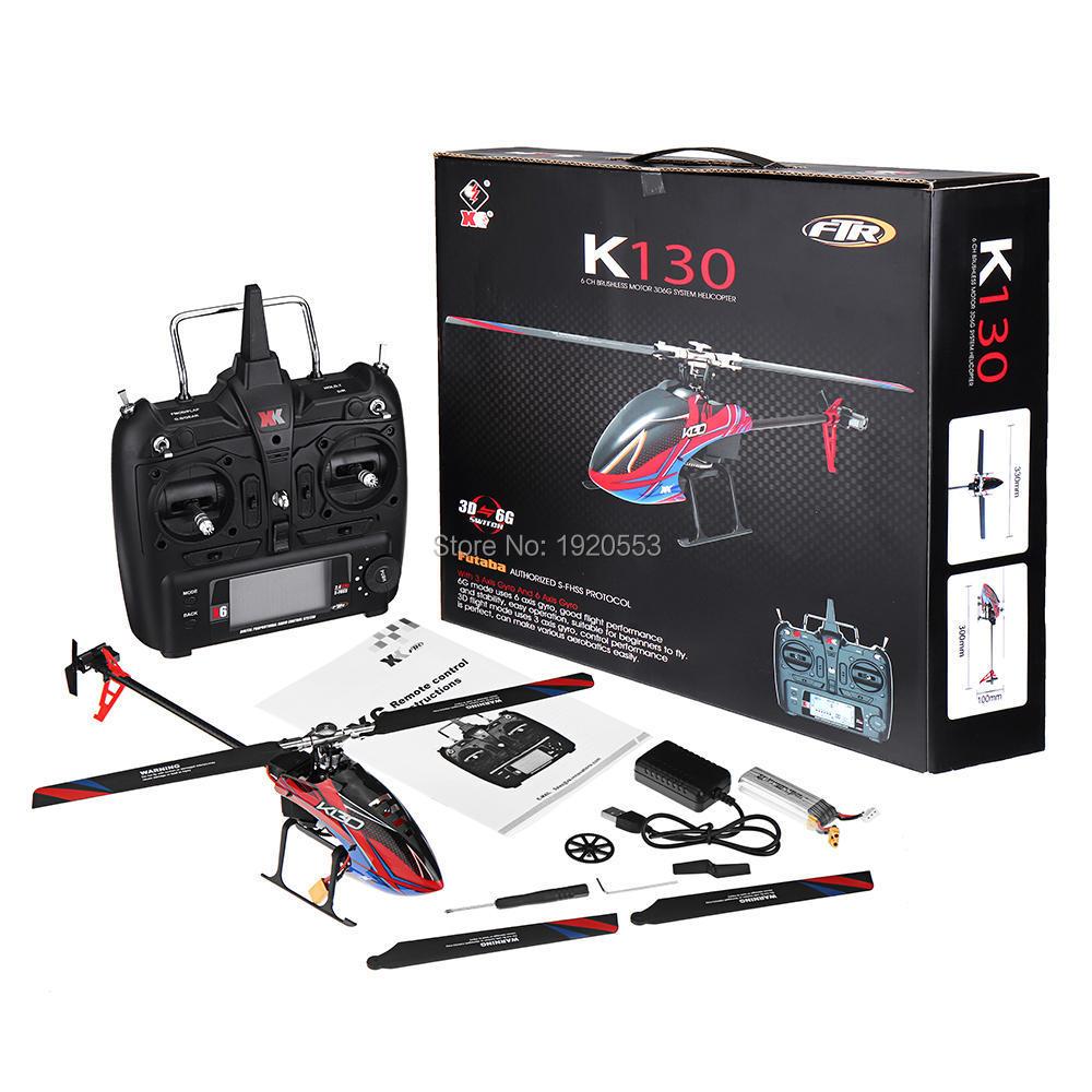 Wltoys XK K130 2,4G 6CH sin escobillas 3D 6G sistema Flybarless RC helicóptero RTF Super Combo Compatible para FUTABA s FHSSRTF-in Helicópteros RC from Juguetes y pasatiempos    1