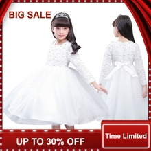 Baby Girls Lace Tulle Dress Long Sleeve White Flower Children Princess Wedding and Party Dresses  цена в Москве и Питере