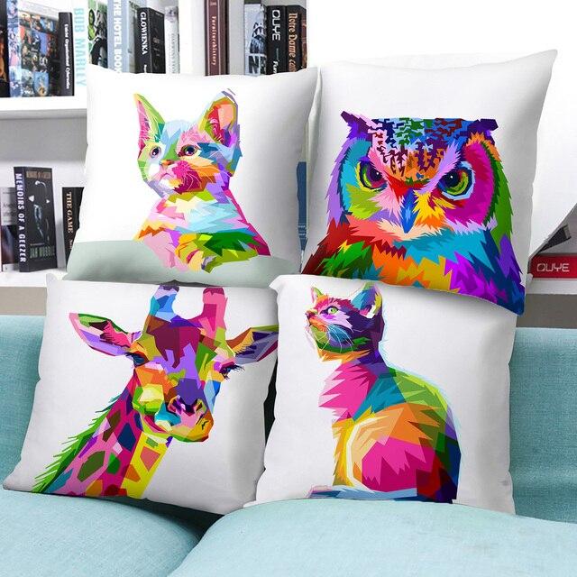 Mais novo Aquarela Animais Leão Aves Veados Tigre Gato Cão Cavalo Throw Pillow Caso 17 Projeto Disponível