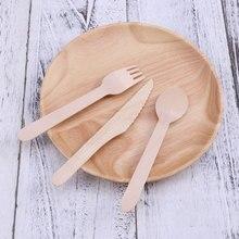 100 шт 160 мм деревянные вилки экологически чистые одноразовые деревянные столовые приборы, биоразлагаемые вилки для кухни, ресторана, дома