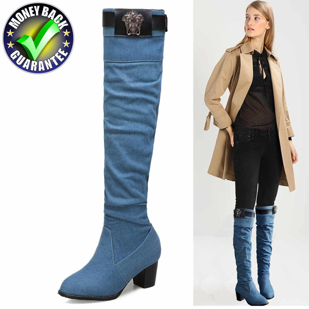 95773065592 New Winter Boots Women Warm Knee High Boot Over The Knee Boots Plus Size  Long Plush Snow Boots Jeans shoes Fashion Female Thigh