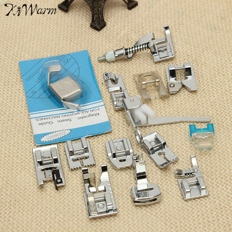Kiwarm 14Pcs Multifunction Sewing Machine Presser Foot Feet Kit Set For Brother Feiyue Janome Household Sewing Tools Accessory