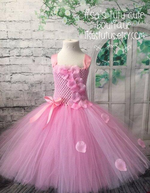 cada21303 POSH DREAM Pink Flower Kids Girls Tutu Dresses for Wedding Party ...