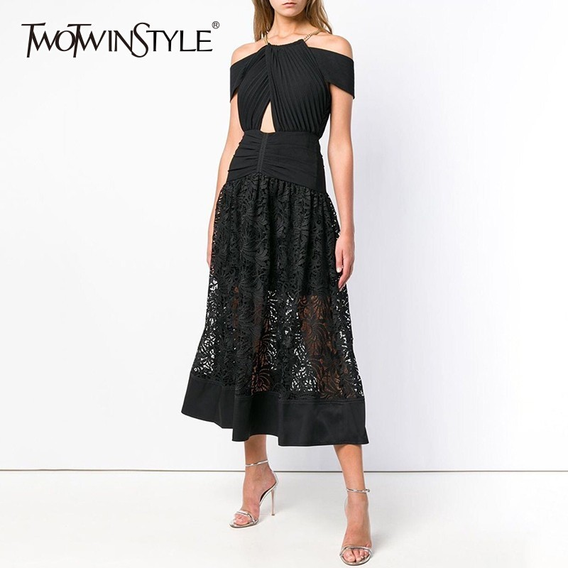 TWOTWINSTYLE Black Evening Party Dresses Women Halter Off Shoulder Hollow Out Patchwork Lace Dress Female 2019