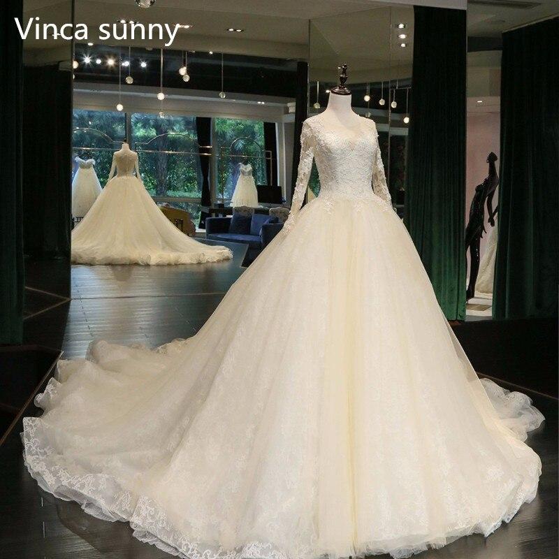 Photo réelle robe de bal robe de mariée 2019 robes de mariée taille personnalisée et couleur vestidos de noiva à manches longues robe de mariage