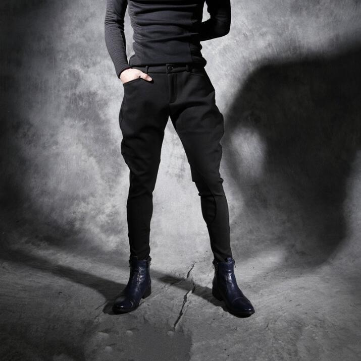 New Autumn Winter Thickened Personality Slim Men's Casual Pants Nightclub Hairstylist Stretch Harlan Pants Men Trousers Breeches