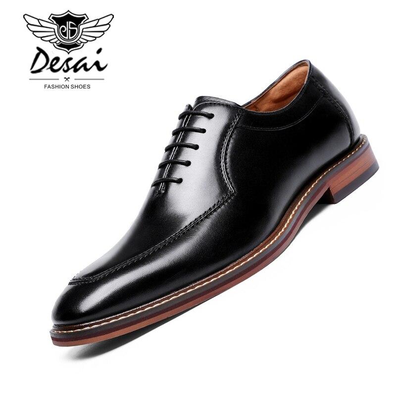 DESAI 2019 Dress Shoes Men Italian Style Genuine Leather Men s Wedding Shoes Lace Up Formal