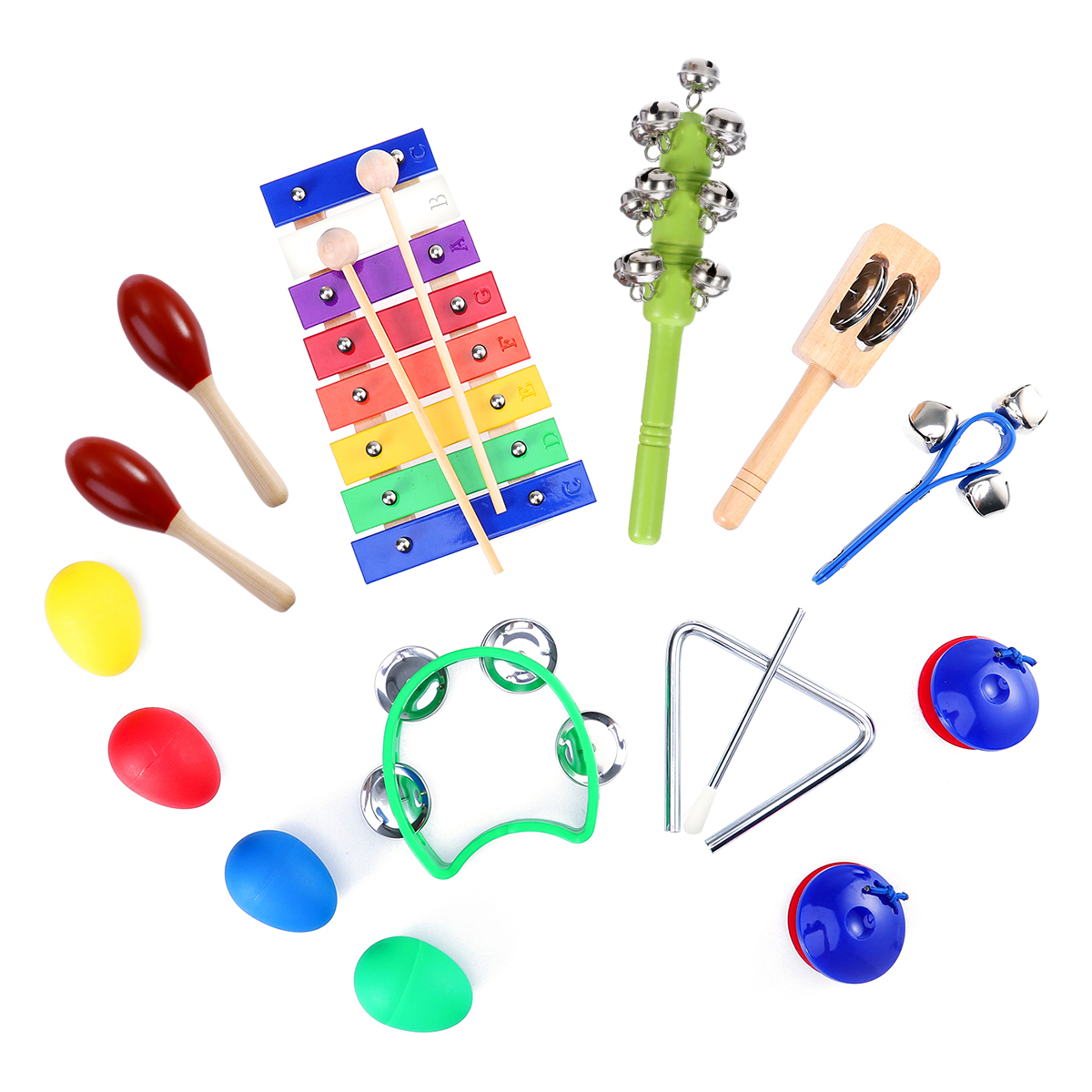 15pcs Kids Musical Instruments Percussion Toy Rhythm Band Set Preschool Educational Tools With Carrying Bag Top Watermelons red Sand Hammer