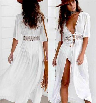 Sexy Ladies Women Solid White Bikini Cover up Beach Dress Swimwear Chiffon Beachwear Bathing Suit Summer Holiday Kimono Cardigan 1