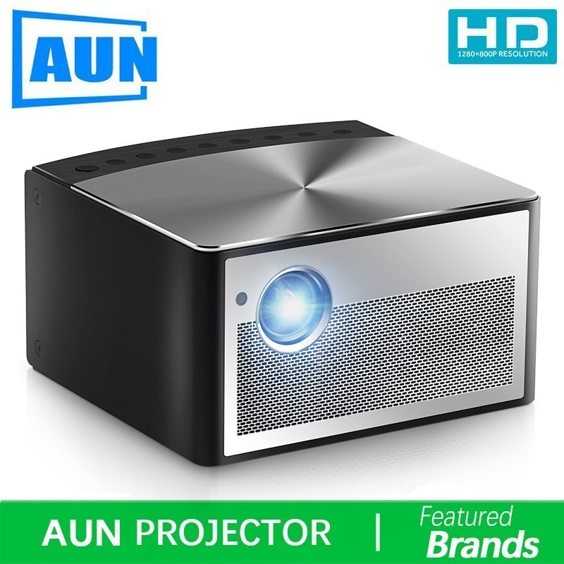 Brand AUN Smart Projector H1, Build in Android, WIFI, Bluetooth. Support HD IN, USB, 1080P. MINI LED Projector Home Theater