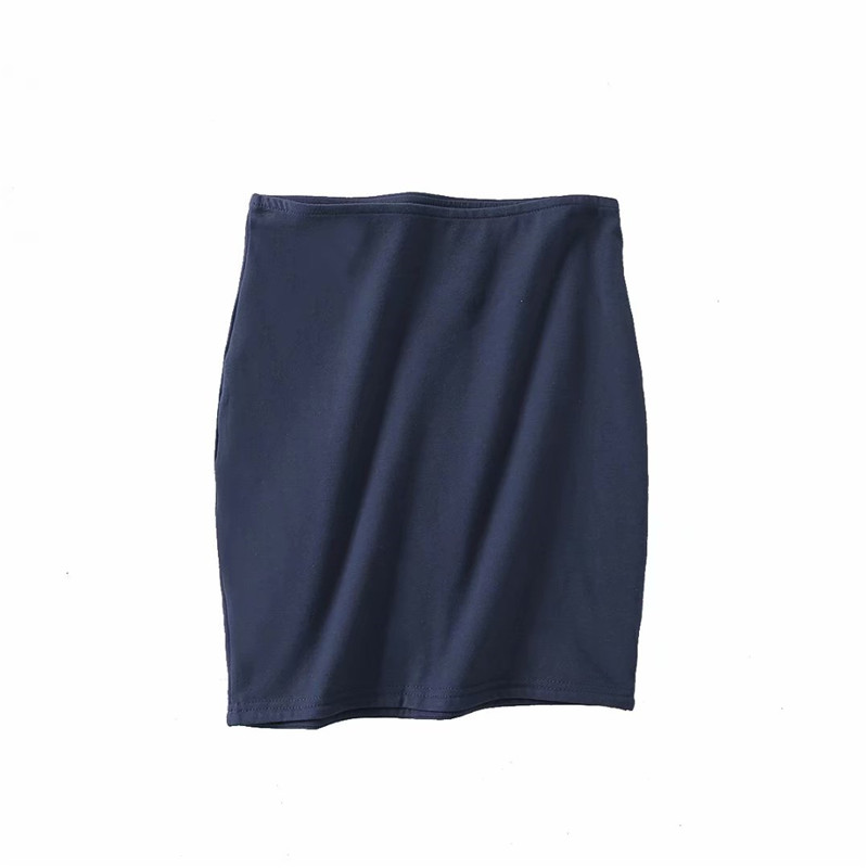 2019 spring and summer new fashion wild solid color elastic tight skirt female sense elastic waist short mini skirt female in Skirts from Women 39 s Clothing