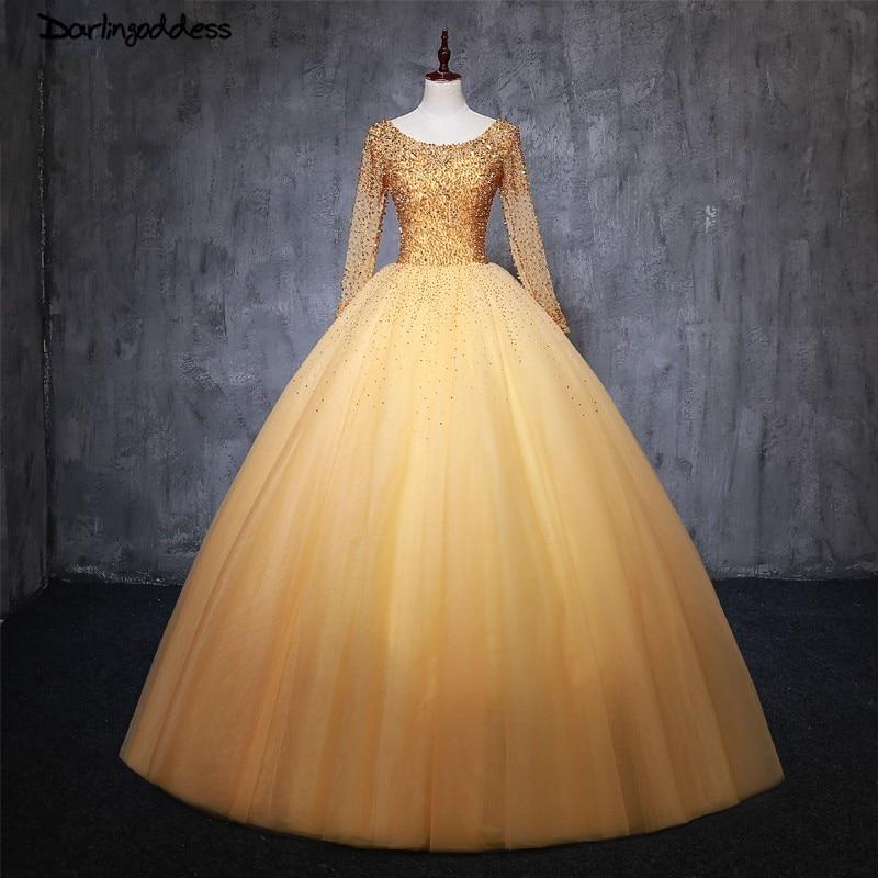 Robes de coing anos 2018 douce 16 robe de bal à manches longues perlée paillettes Quinceanera robes Debutante filles robe de bal