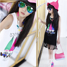 Girls dress summer new girl graffiti fashion personality cartoon vest childrens clothing