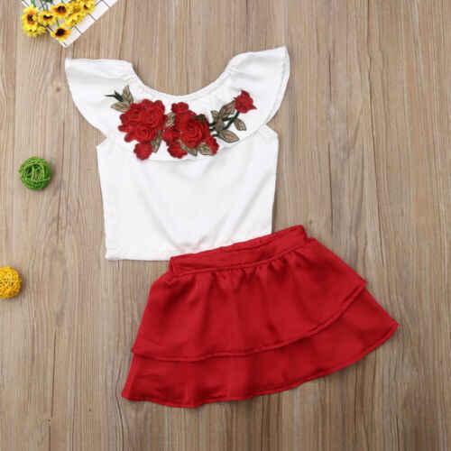 2 шт малыша Одежда для детей; малышей; девочек Летняя одежда с открытыми плечами цветок футболка с нашивками Топ и рюшами красная юбка для девочек Костюмы комплект