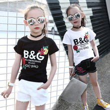 Childrens clothing fashion wild letters sports girls T-shirt 2019 summer new short-sleeved round neck baby clothes