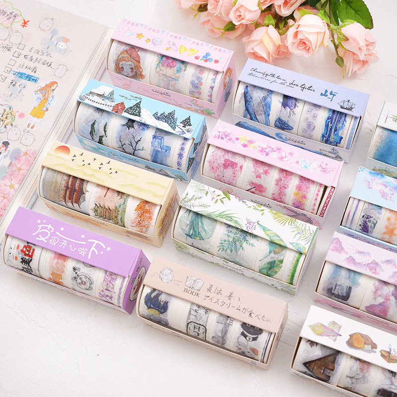 4/5/6Pcs Cute Leaves Masking Tape Kawaii Flower Washi Tape Decorative Adhesive Tape For Kid DIY Scrapbooking Diary Photos Albums