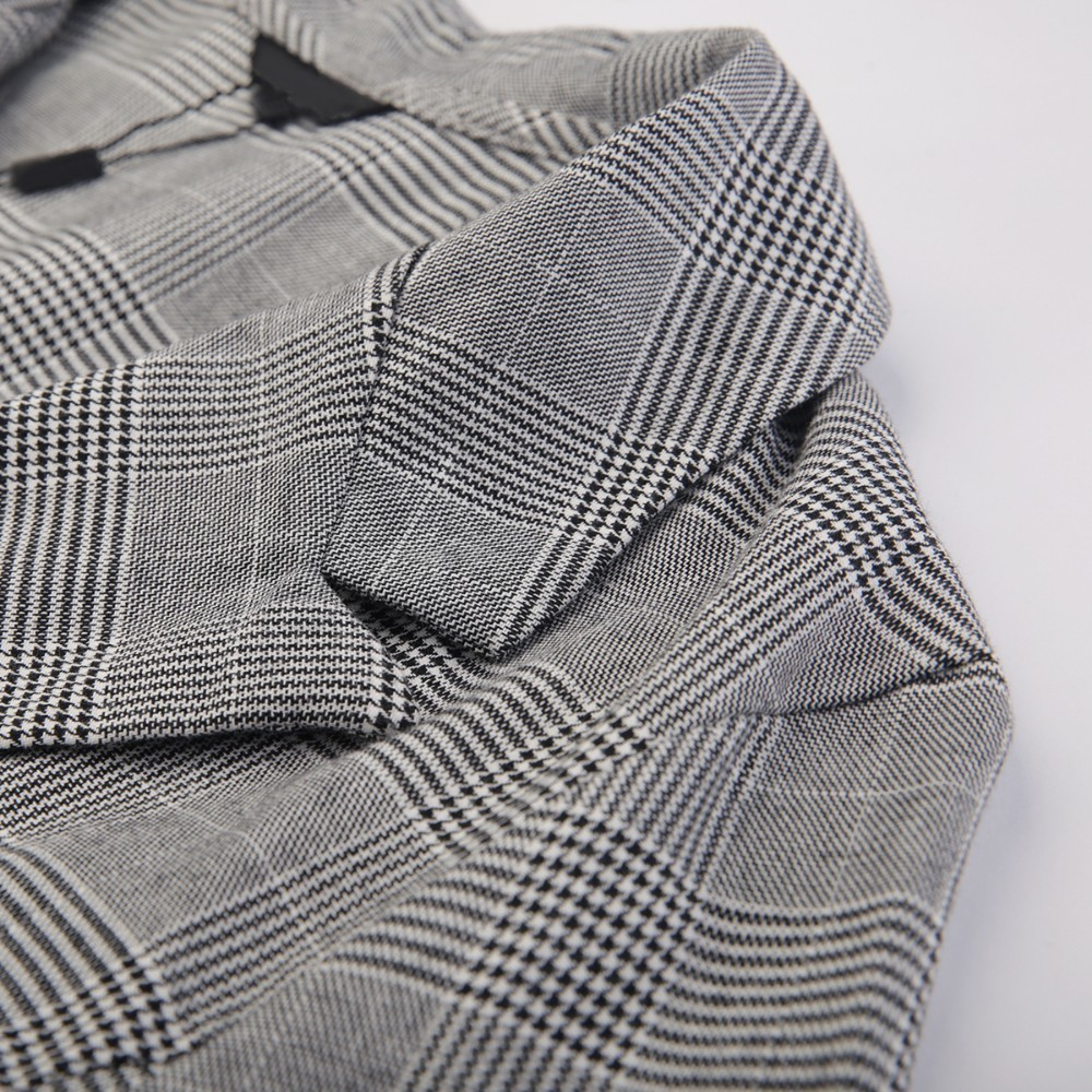 HDY Haoduoyi New Fashion Suit Jacket Simple Temperament Retro Plaid Large Size Slim Lapels One Button Blazer