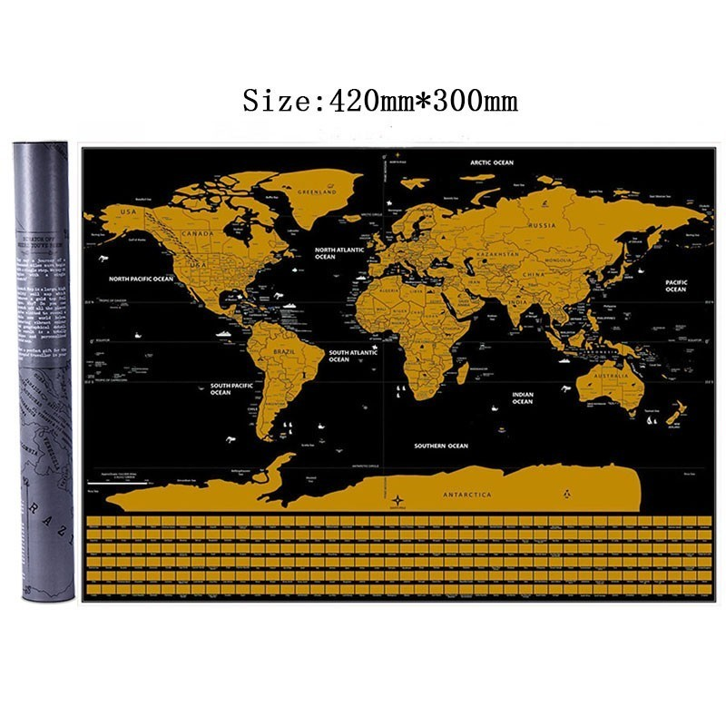 Deluxe Erase Black World Map Scratch Off World Map Personalized Travel Scratch For Map With Cylinder Packing