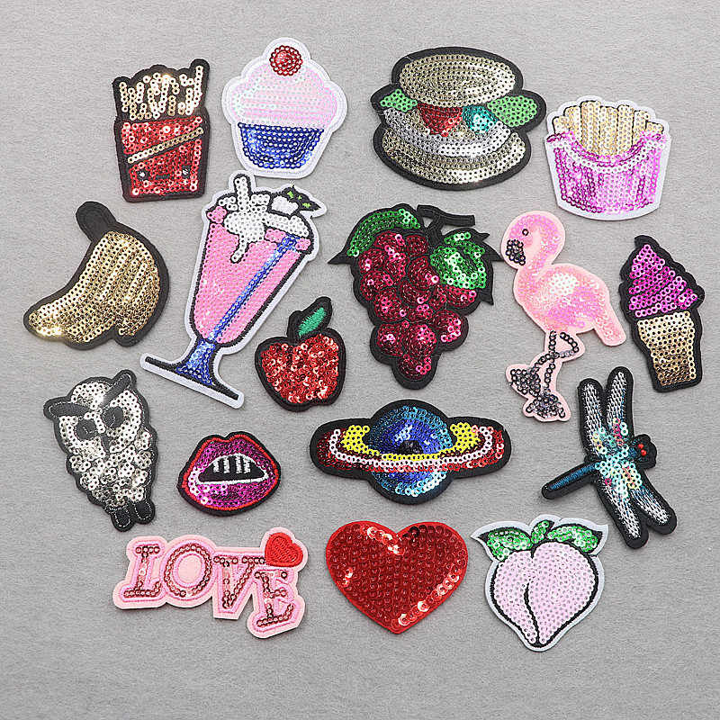 PGY Food&Fruits Embroidered Patches Iron On Sequins Appliques Peach Grape Ice Cream Patch Space Heart Owl Stickers Badges