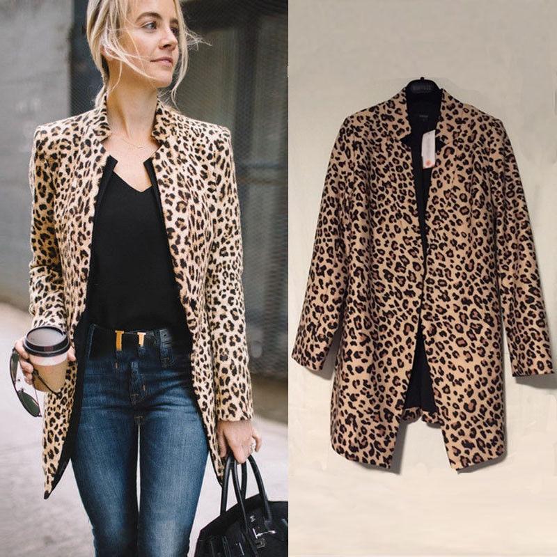 Fashion Women Leopard Sexy Winter Warm New Wind Open Stitch Jackets Cardigan Leopard Print Long Coat jeans con blazer mujer