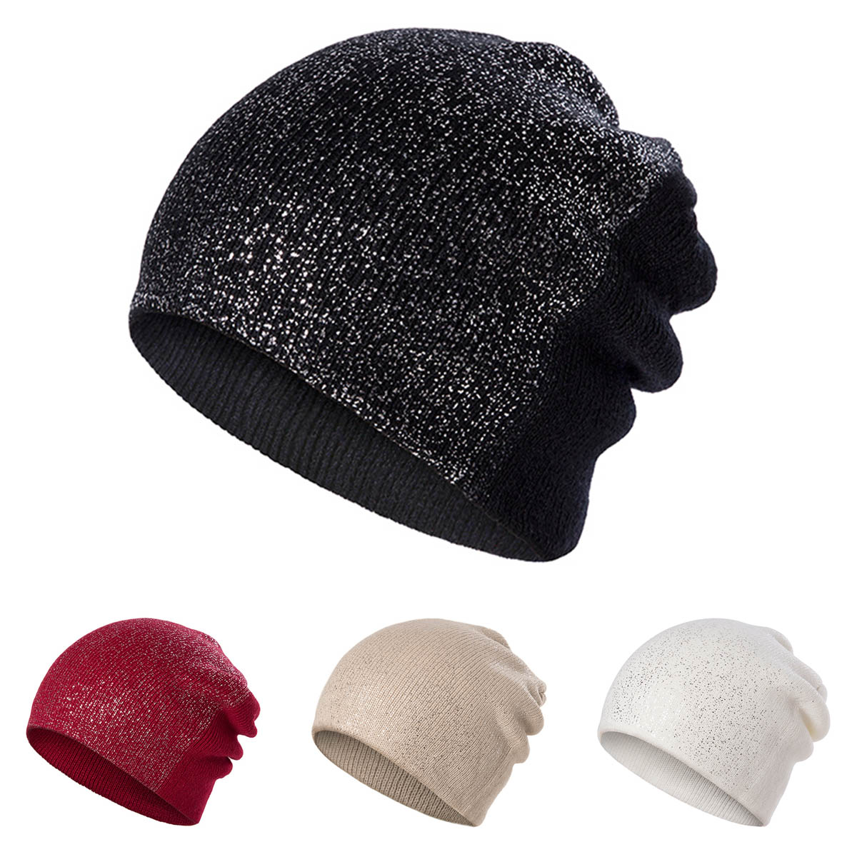 High Quality Cheap   Skullies     Beanies   For Women Knitted Winter Hat Shinning   Beanies   Girls   Skullies   Solid Color Hats