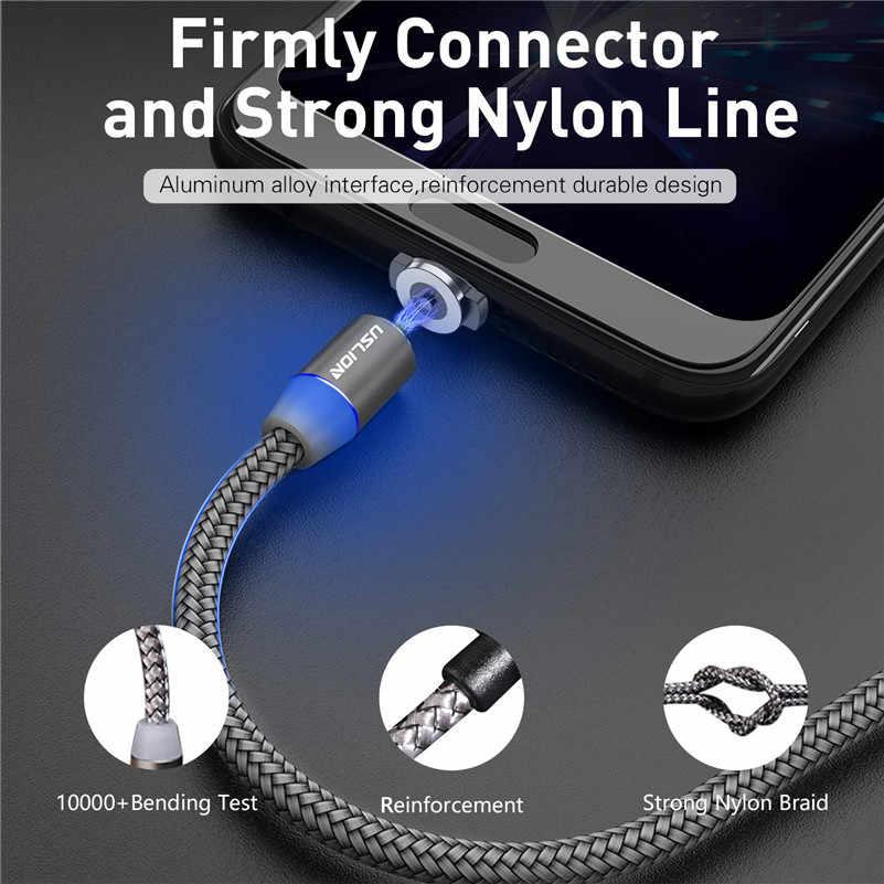 USLION 磁気 USB ケーブル高速充電 Usb タイプ C ケーブルマグネット充電器データ充電マイクロ USB ケーブル携帯電話ケーブル USB コード