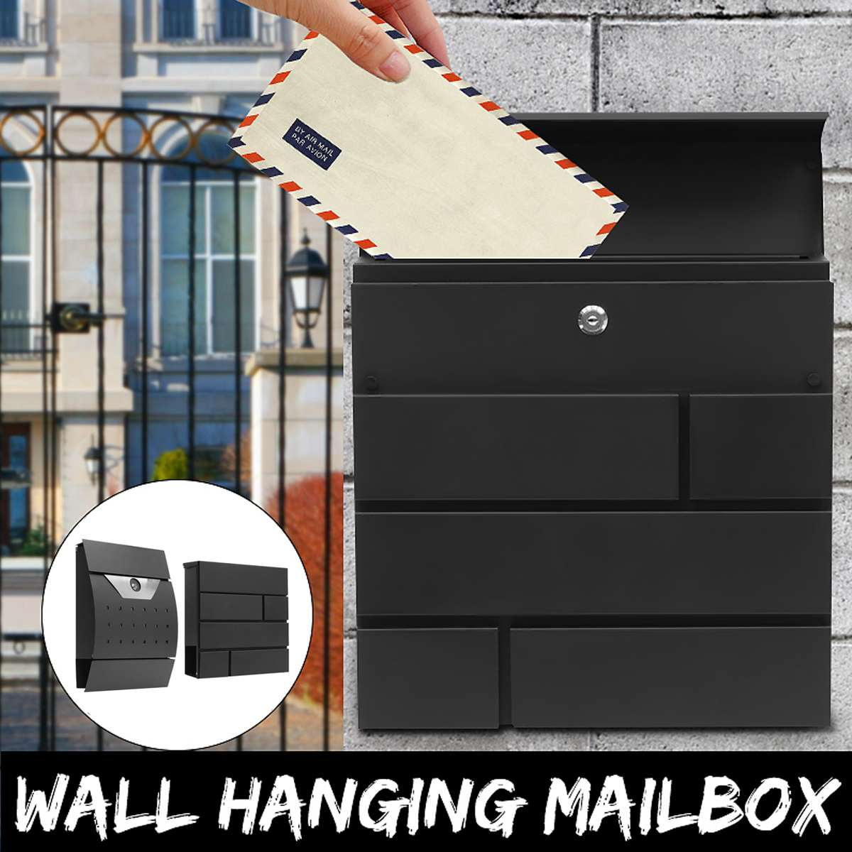 Modern Stainless Steel Mail Box Case Metal Newspaper Letter Mailbox Waterproof Post Box Lockable Box Garden Ornament