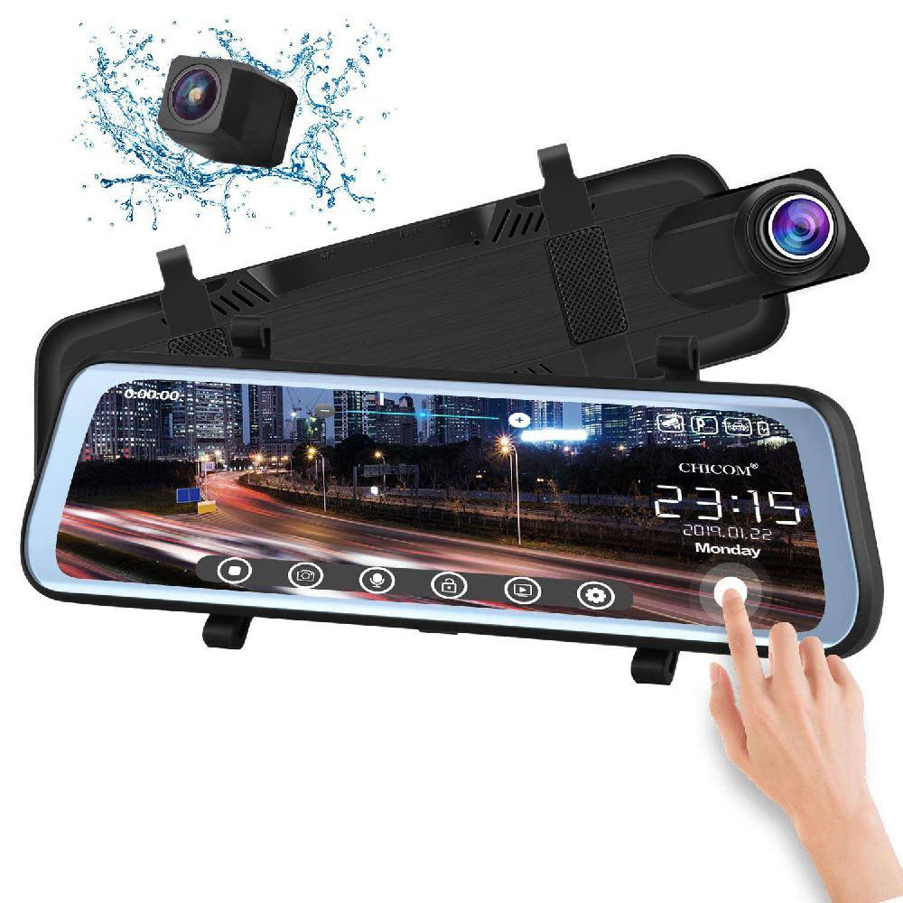9.66in voiture DVR rétroviseur tableau de bord caméra tactile plein écran 1080 P 170 degrés Full HD caméra avant surveillance de stationnement Vision nocturne